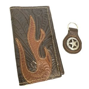 American West Tooled Leather Wallet & Keychain